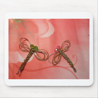 chinese knot silver golden dragonfly mouse pad