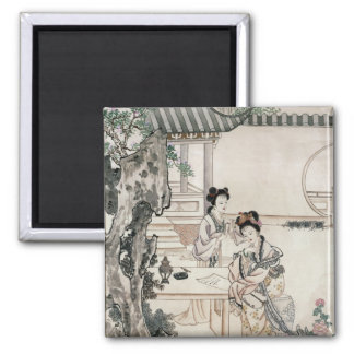 Chinese ladies in a garden square magnet