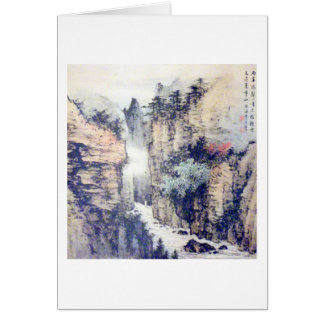 Chinese Landscape Brush Painting W/Poem by Li Bai Card
