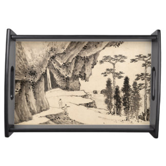 Chinese landscape ink brush art in sepia colours serving tray