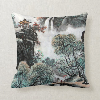 Chinese Landscape Watercolor Painting #5, Cushion