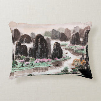 Chinese Landscape Watercolor Painting Pillow