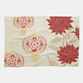 Chinese Lantern with Flowers 3 Kitchen Towel