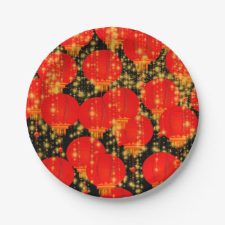 Chinese Lanterns 7 Inch Paper Plate