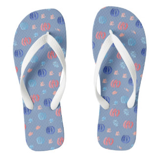 Chinese Lanterns Adult Wide Straps Flip Flops