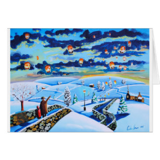 Chinese lanterns winter landscape painting card