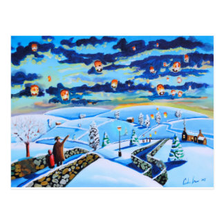 Chinese lanterns winter landscape painting postcard