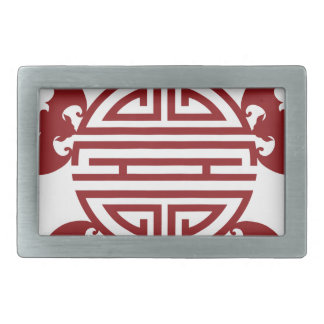 Chinese Longevity Five Blessings Symbols Belt Buckle