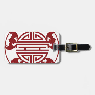 Chinese Longevity Five Blessings Symbols Luggage Tag