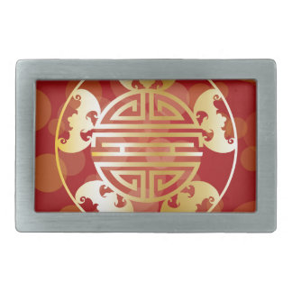 Chinese Longevity Five Blessings Symbols Red Belt Buckle
