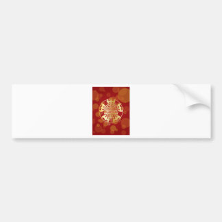 Chinese Longevity Five Blessings Symbols Red Bumper Sticker