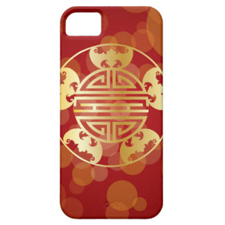 Chinese Longevity Five Blessings Symbols Red Case For The iPhone 5