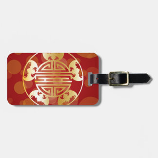 Chinese Longevity Five Blessings Symbols Red Luggage Tag
