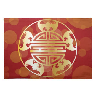 Chinese Longevity Five Blessings Symbols Red Placemat