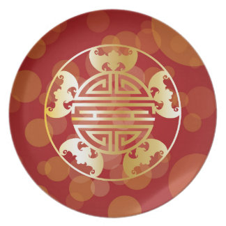 Chinese Longevity Five Blessings Symbols Red Plate
