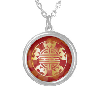 Chinese Longevity Five Blessings Symbols Red Silver Plated Necklace