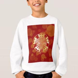 Chinese Longevity Five Blessings Symbols Red Sweatshirt