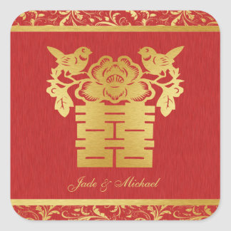 Chinese Love BIrds Double Happiness Wedding Square Sticker