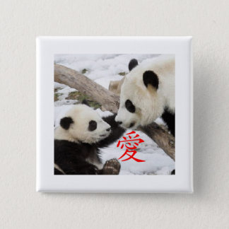 Chinese Love Pandas 2 Inch Square Button
