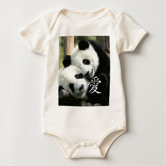 Chinese Loving Little Giant Pandas Baby Bodysuit