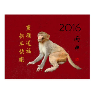 Chinese Lunar New Year 2016 Monkey Greetings Postcard