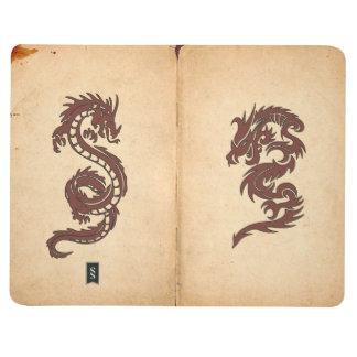 Chinese Mythology Dragons, Old Paper - Red Orange Journal