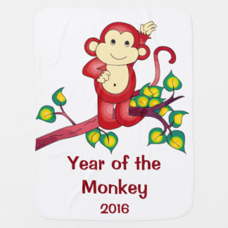 Chinese New Year 2016 Red Monkey Baby Blanket