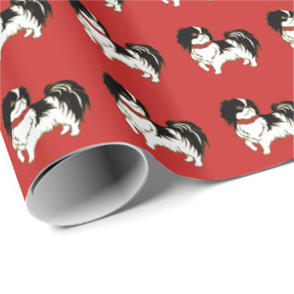 Chinese New Year Black and White Chin Dog on Red Wrapping Paper