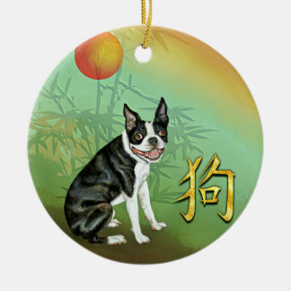 Chinese New Year Dog Boston and Moon Ceramic Ornament