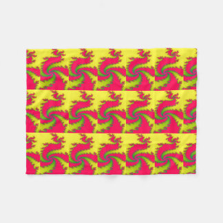 Chinese New Year Dragon Fractal Fleece Blanket