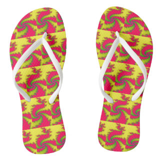 Chinese New Year Dragon Fractal Flip Flops