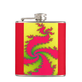 Chinese New Year Dragon Fractal Hip Flask