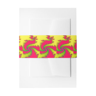 Chinese New Year Dragon Fractal Invite Belly Band Invitation Belly Band
