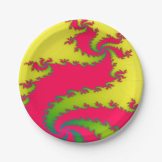 Chinese New Year Dragon Fractal Paper Party Plates 7 Inch Paper Plate