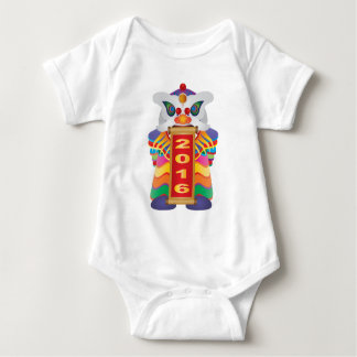 Chinese New Year Lion Dance with 2016 Scroll Baby Bodysuit
