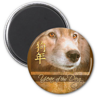 Chinese New Year of the Dog Gold Eyes Magnet