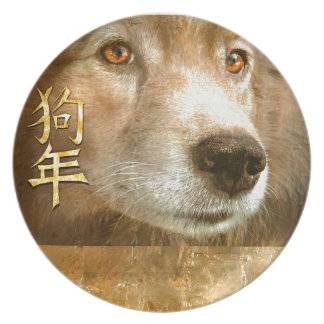 Chinese New Year of the Dog Golden Eyes Plate