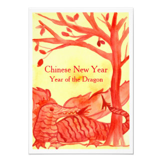 Chinese New Year of the Dragon Red Party Card