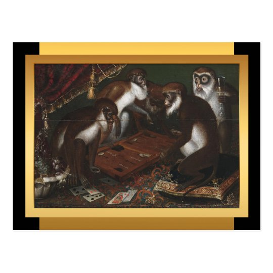Chinese New Year of The Monkey - European Painting Postcard