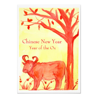 """Chinese New Year of the Ox Red Party 5"""" X 7"""" Invitation Card"""
