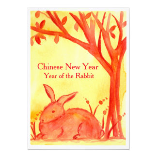 """Chinese New Year of the Rabbit Red Party 5"""" X 7"""" Invitation Card"""