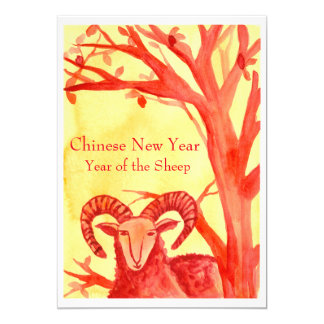 Chinese New Year of the Sheep Ram Red Party Card