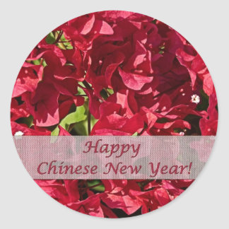 Chinese New Year Red Bougainvillea Round Sticker