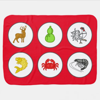 Chinese New Year Red Fish Prawn Crab Game Mat Baby Blanket
