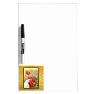 Chinese New Year Rooster & Sunrise on Gold Dry Erase Whiteboard