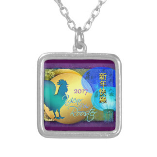 Chinese New Year Rooster with Blue Lanterns Silver Plated Necklace