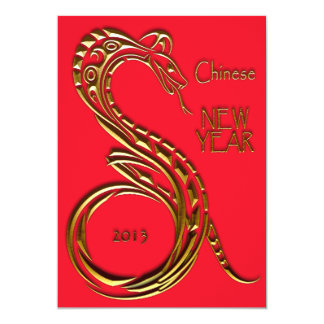 """Chinese New Year Snake 5"""" X 7"""" Invitation Card"""