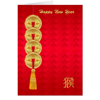 Chinese New Year, Year Of The Monkey, Coins Card
