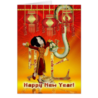 Chinese New Year - Year Of The Snake With Boy Greeting Card