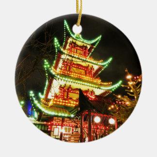 Chinese pagoda at night ceramic ornament